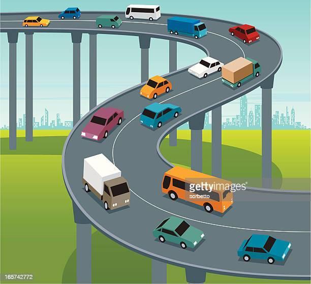 highway traffic - overpass road stock illustrations