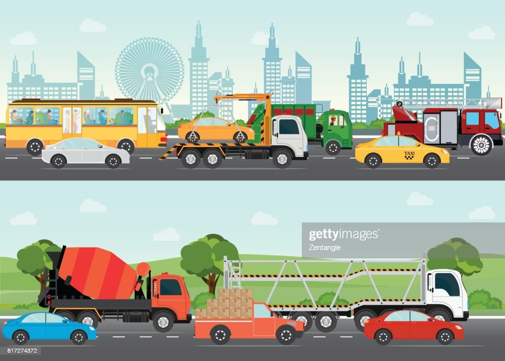Highways road with many different vehicles.
