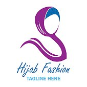 hijab icon with text space for your slogan / tag line, vector illustration