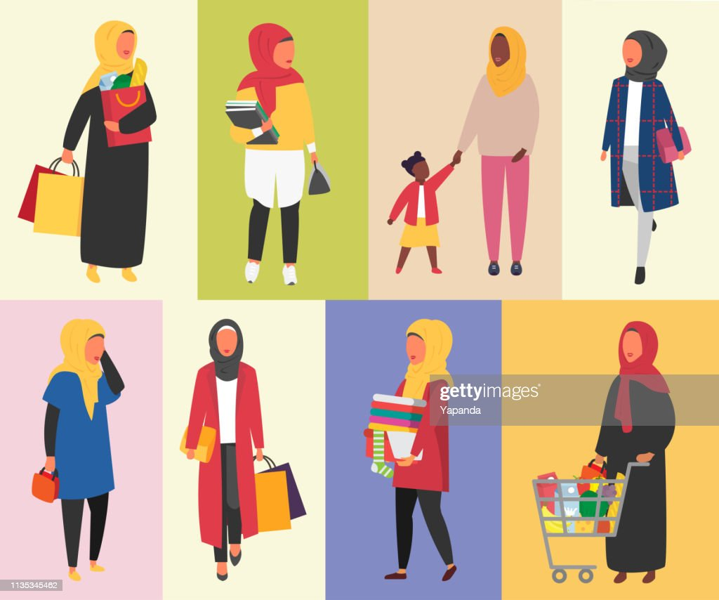 Hijab Muslim Women daily routine vector illustration