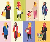Hijab Muslim Women daily routine vector illustration