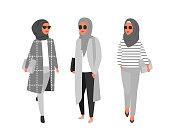 Hijab woman. Arab modern fashion. Vector people