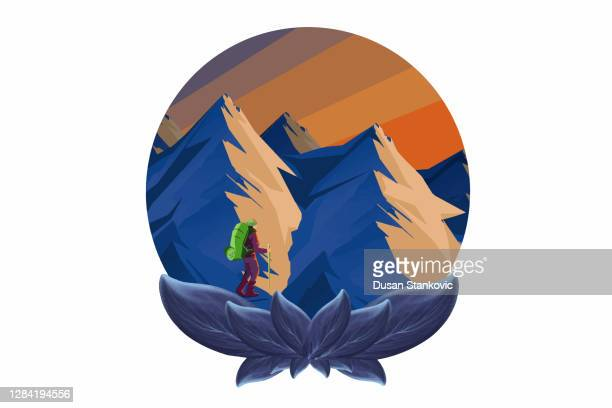 hiker and sunny mountains - mountain logo stock illustrations