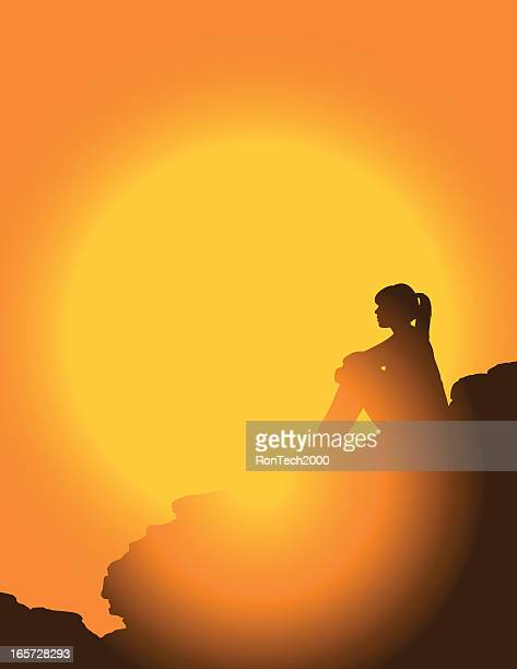 Wanderer bei Sonnenuntergang