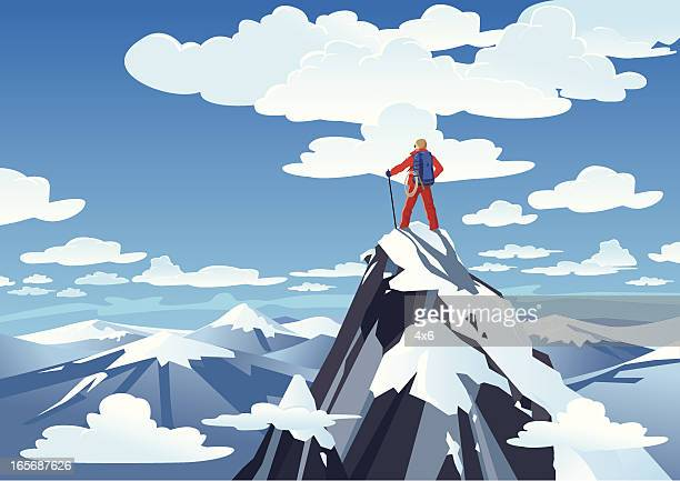 Hiker standing on a mountain peak