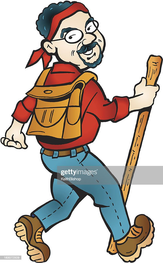 hiker with backpack cartoon vector art getty images rh gettyimages com cartoon hiking images cartoon hiking images