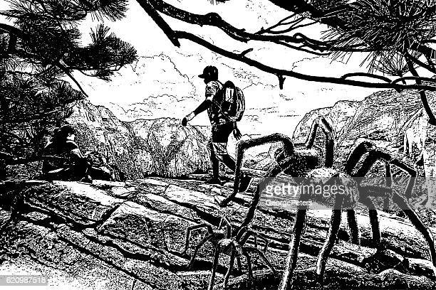 hikers and spiders - zion national park stock illustrations, clip art, cartoons, & icons