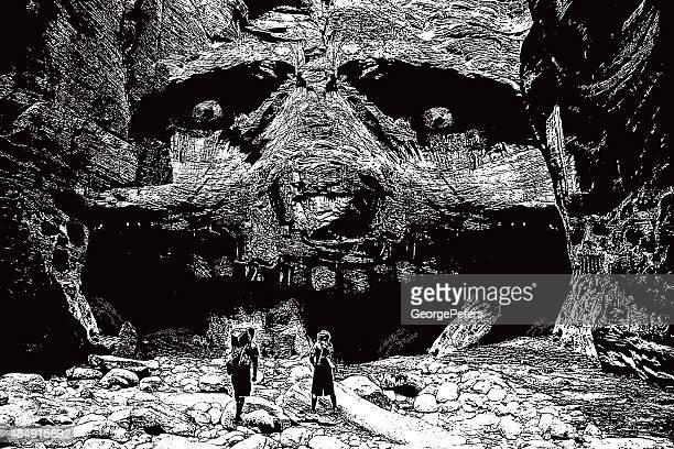 hikers explore a secret magical canyon - zion national park stock illustrations, clip art, cartoons, & icons