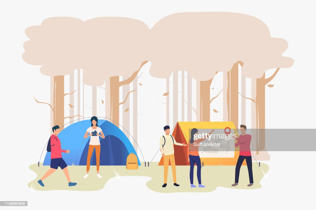 Hikers friends talking and examining map vector illustration