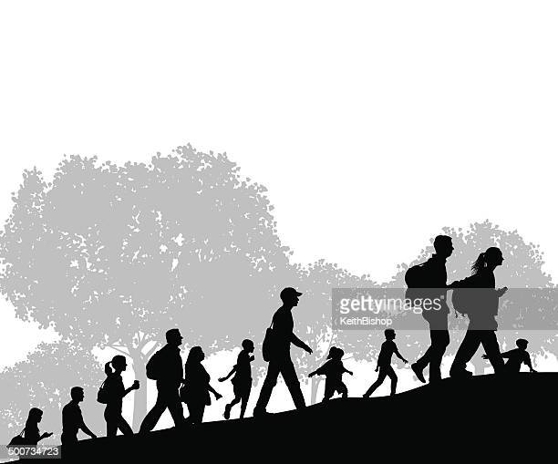 hikers or group of people at city park background - racewalking stock illustrations, clip art, cartoons, & icons