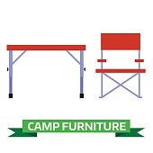 Hiking and Camping Chair and Table Vector Icons