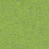 Hiking and Camping Seamless Pattern in Line Style. Outdoor Camp Adventure Theme. Vector illustration. Background. Hiking Print.