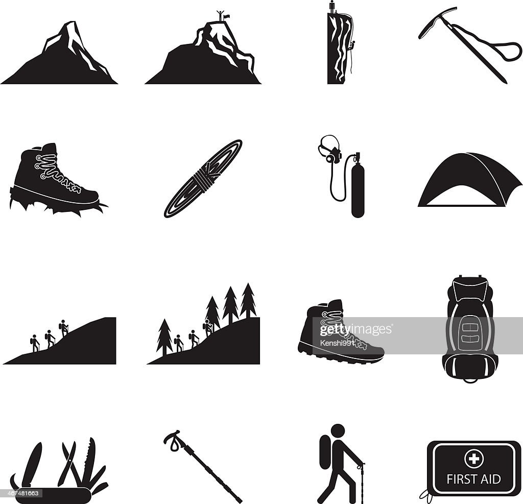 Hiking and mountain climbing icon set