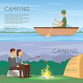 Hiking and outdoor forest camping