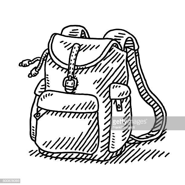 hiking backpack drawing - backpack stock illustrations