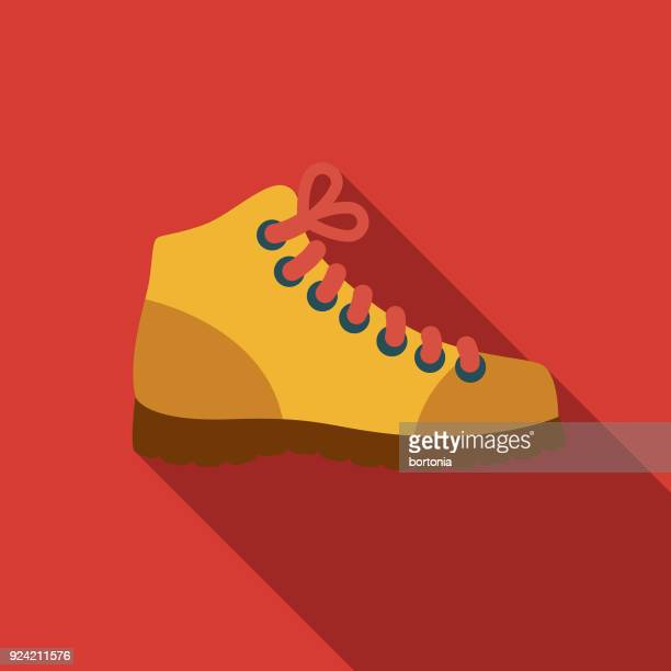 Hiking Boot Flat Design Canadian Icon with Side Shadow