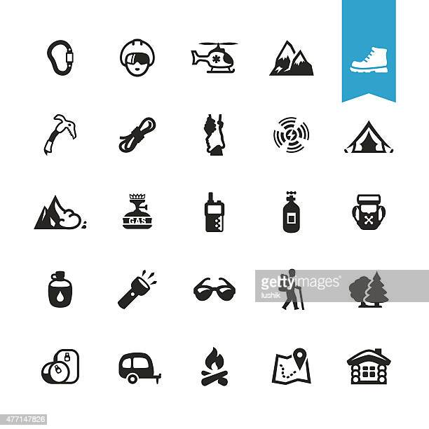 Hiking, Camping and Climbing related vector icons