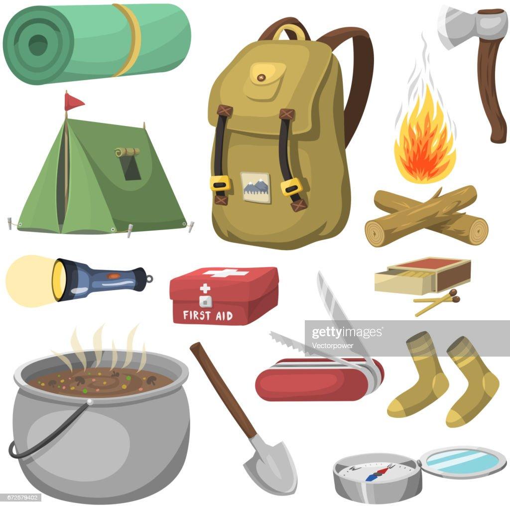 ccce3c34d3535a Wandern camping Ausrüstung base camp Ausrüstung und Zubehör im freien  Cartoon Reisen Vektor-illustration