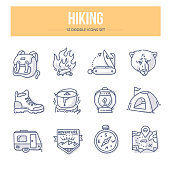 Hiking Doodle Icons