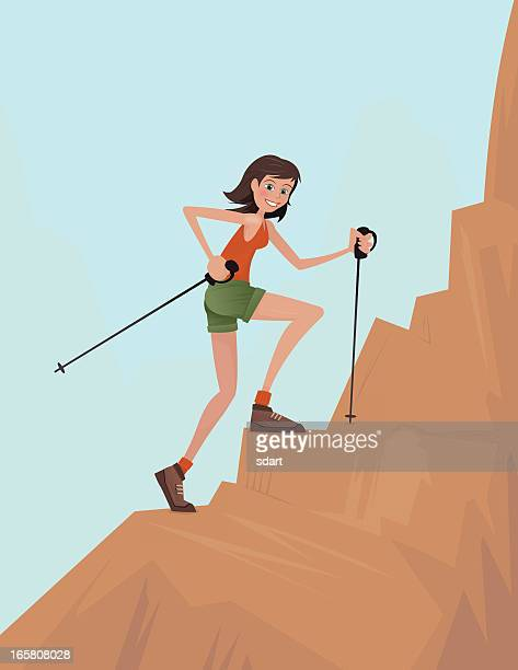 illustrations, cliparts, dessins animés et icônes de fille de randonnée - escalade