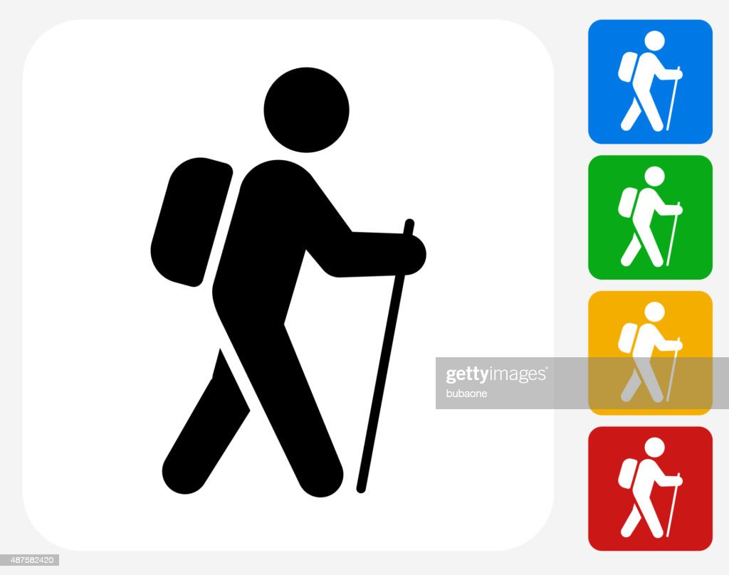 Hiking Icon Flat Graphic Design