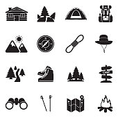 Hiking Icons. Black Flat Design. Vector Illustration.