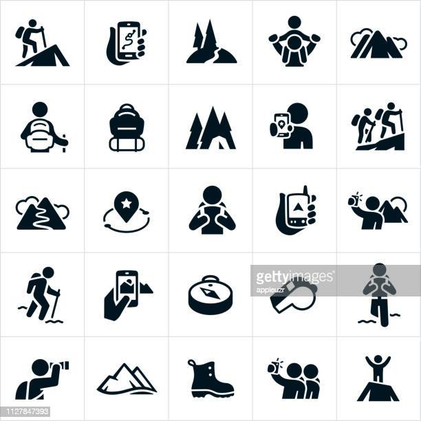 hiking icons - climbing stock illustrations