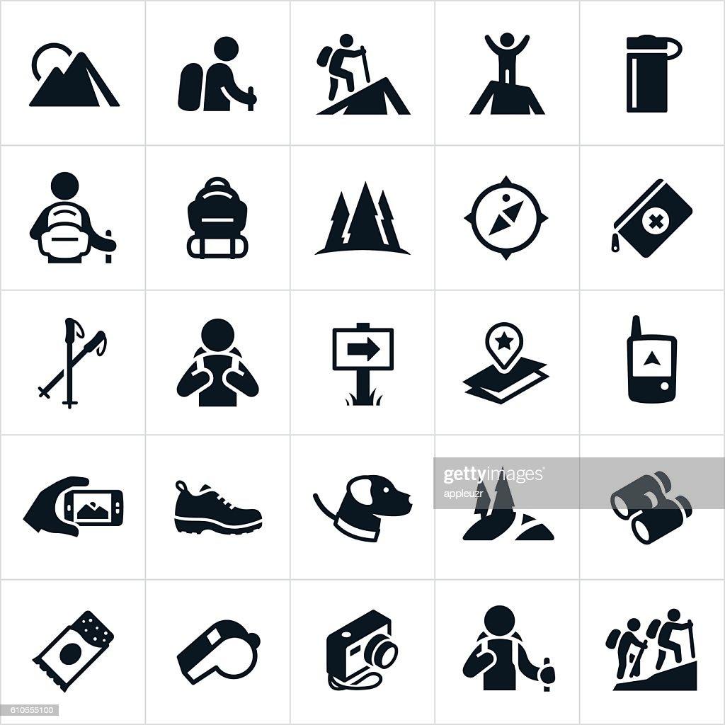 Hiking Icons : stock illustration