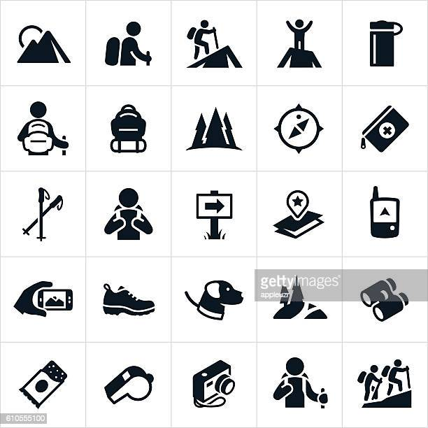 hiking icons - hiking boot stock illustrations
