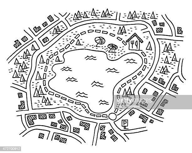 hiking map path around lake drawing - lakeshore stock illustrations
