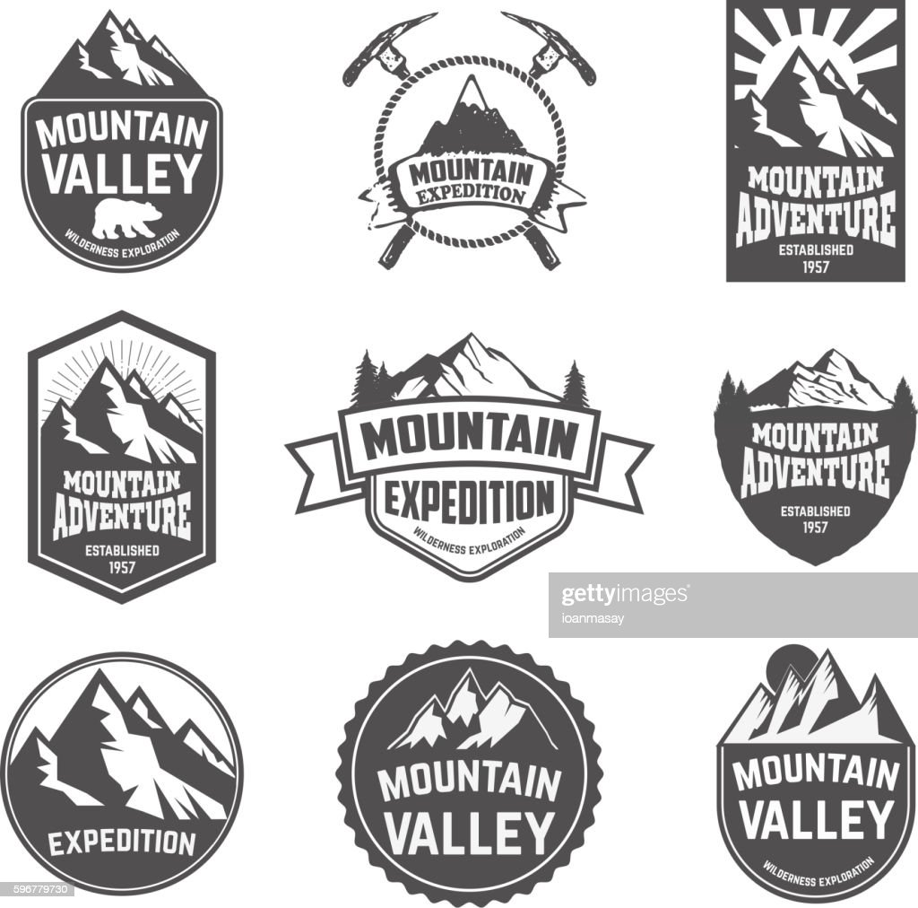 Hiking, mountains exploration labels and emblems.