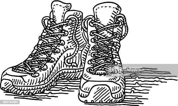 hiking shoes pair drawing - hiking boot stock illustrations