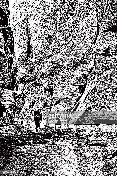 hiking the narrows - zion national park stock illustrations, clip art, cartoons, & icons