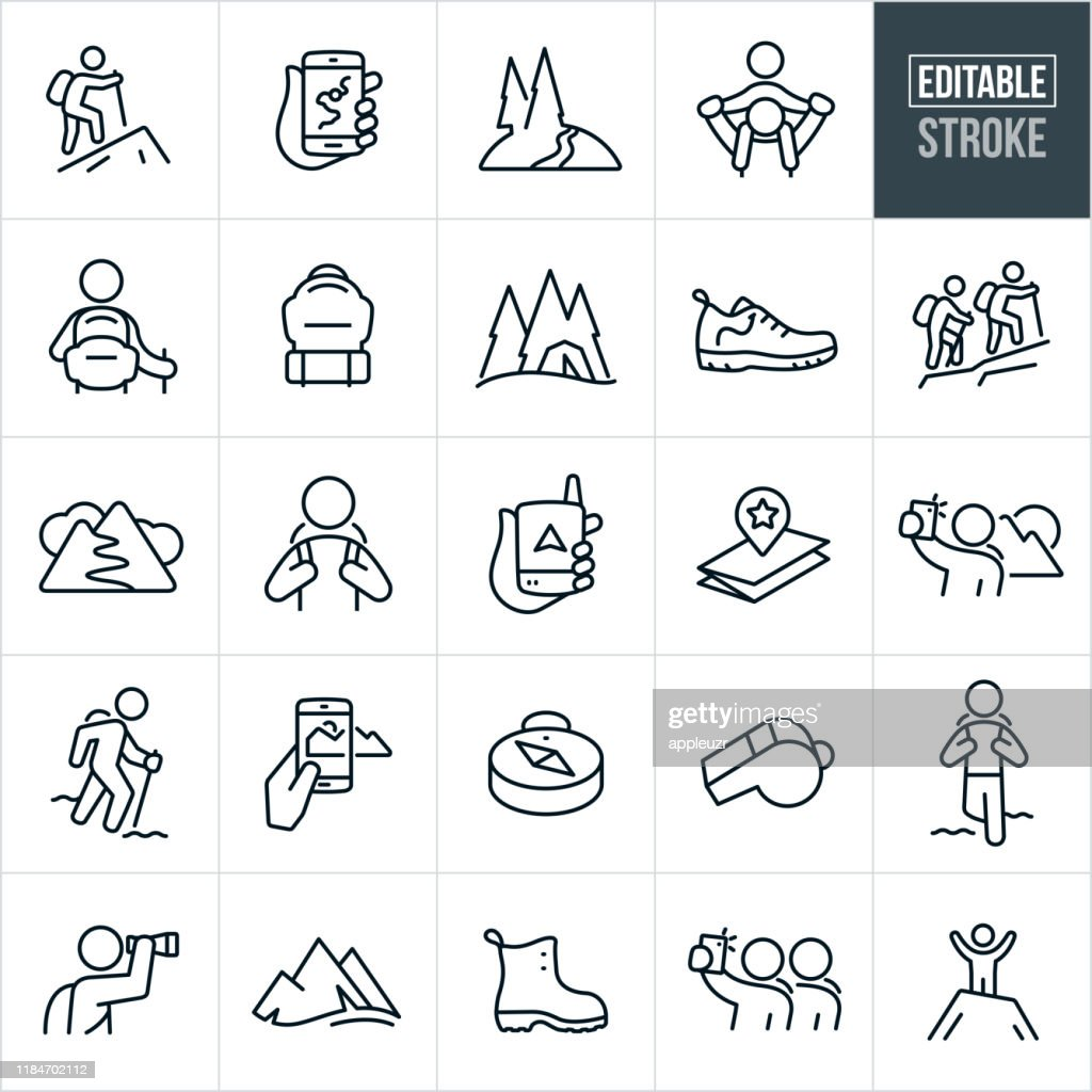 Wandern Thin Line Icons - Editable Stroke : Stock-Illustration