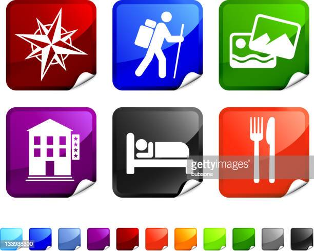 hiking trip royalty free vector icon set stickers
