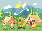 hildren boy sings playing guitar with girl scouts, camping on nature, hike tents and backpacks, adventure park outdoor background of mountains flat style