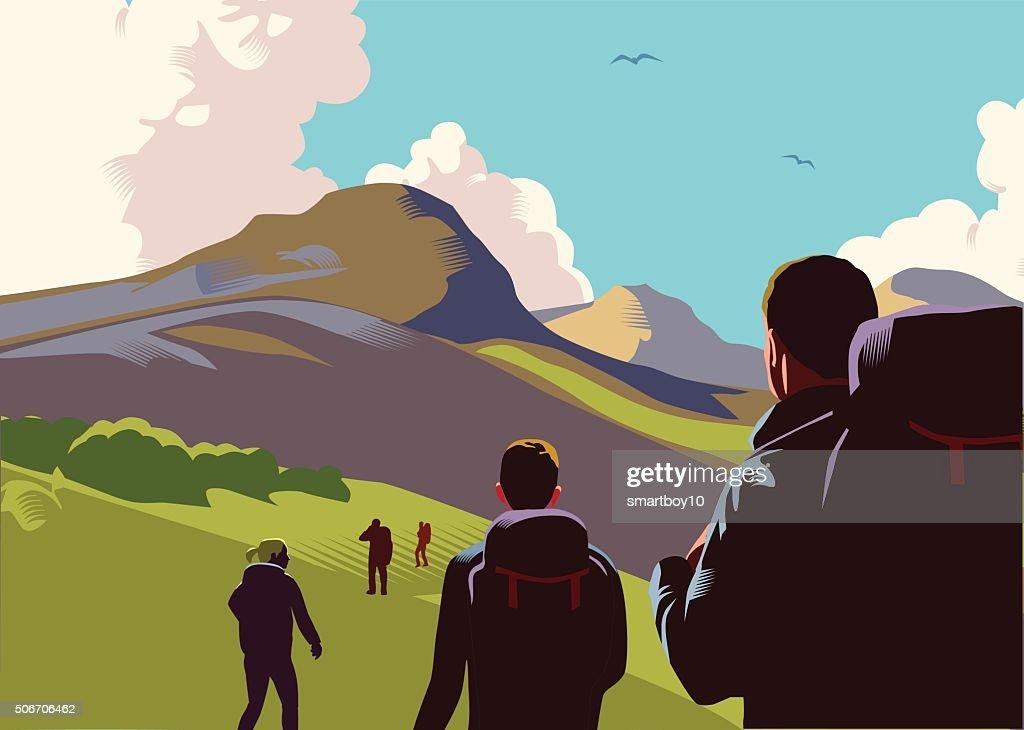 Hill walkers : stock illustration