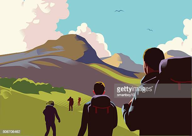 hill walkers - mountain peak stock illustrations, clip art, cartoons, & icons