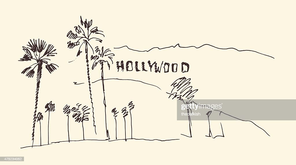 hills and trees engraving vector illustration, hand drawn, sketch, hollywood