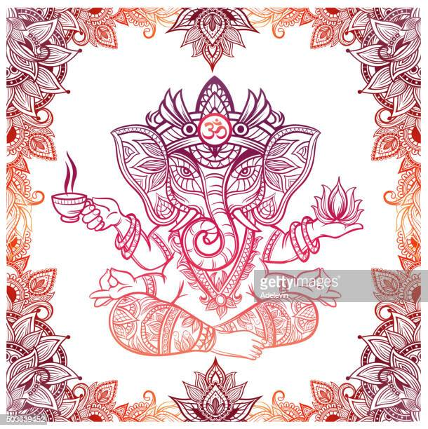 Hindu Elephant God with lotus and tea