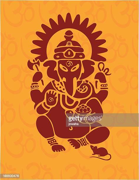 hindu ganesh with om - ganesha stock illustrations