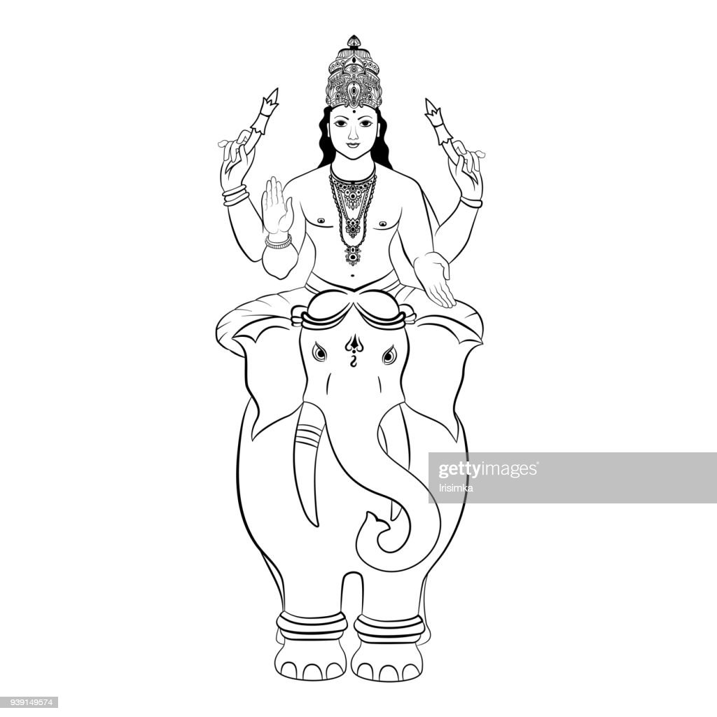 Hindu God Indra sitting on the elephant. Vector