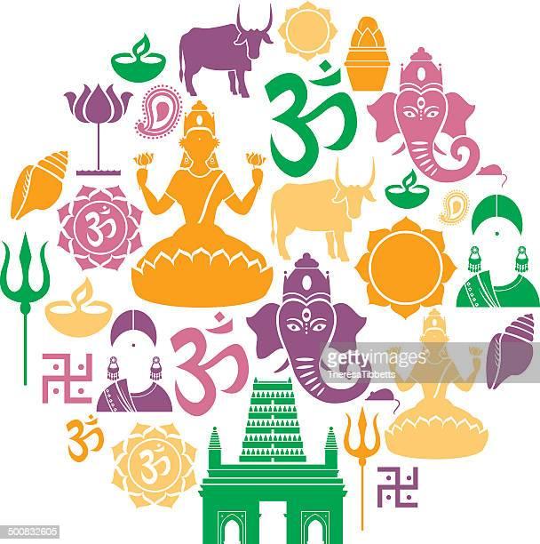 hinduism icon set - india stock illustrations