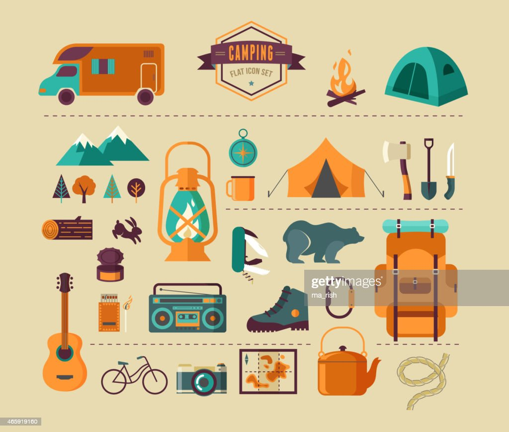 Hinking and camping equipment  - icon set and infographics