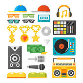 Hip hop accessory musician with microphone breakdance expressive rap symbols vector illustration