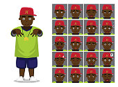 Hip Hop Black Boy Cartoon Emotion faces Vector Illustration