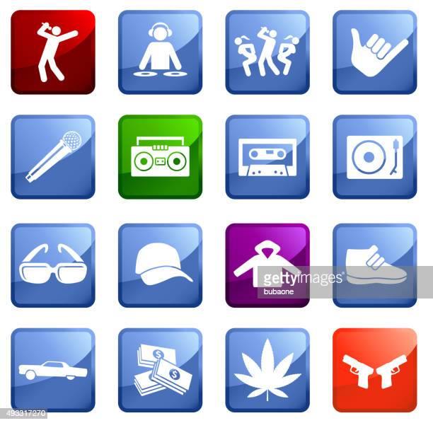 hip hop lifestyle icon set on white background. - infamous stock illustrations, clip art, cartoons, & icons