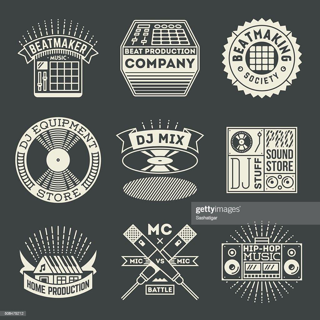 Hip-Hop Music Insignias Logotypes Template Set.