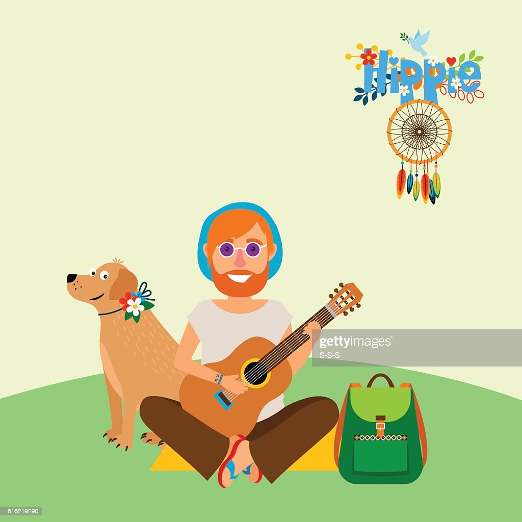 Hippie barefoot man with dog : Vektorgrafik