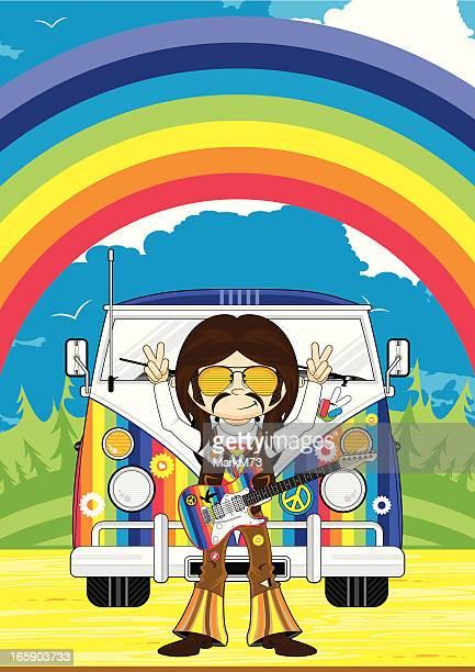Hippy Boy & de campismo Van cena